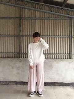 日系可愛原宿系粉紅粉嫩下擺木耳邊寬褲