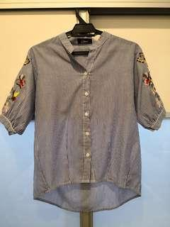 Blue Striped Floral Embroidered Shirt