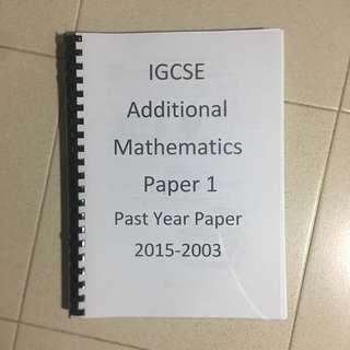 IGCSE Additional Mathematics Past Years