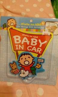 大口仔 車窗告示 車窗貼 baby in car 吸盤 car message with suction cup