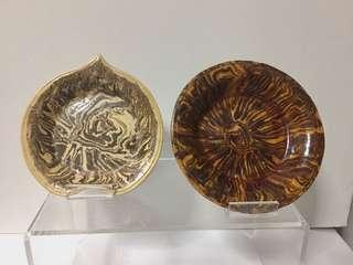 2 x Small Chinese Old Marble Glazed Bowls