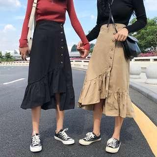 🚚 PO: Cadie's Asymmetrical Button Down Ruffle Detail Midi Skirt (Korean Fashion)