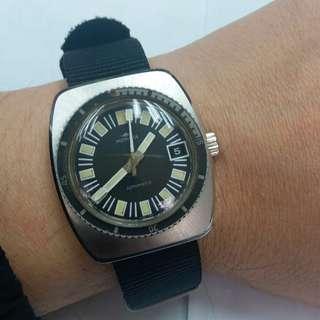 Vintage Mondia Diver  中古瑞士潛水,自動,單曆,膠面,原裝外轉圈, 35mm 不連的x 41mm,原裝針面,走時,跟黑色尼龍帶