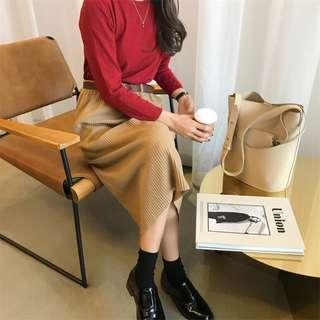 🚚 PO: Cady's Ribbed Midi Skirt (Korean Fashion)