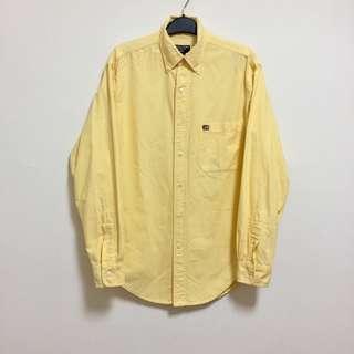 Polo jeans古著vintage絕版基本款吉士黃牛津布國旗logo襯衫