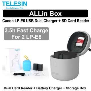 Canon LP-E6 LP-E6N USB Dual Charger with SD Card Reader Telesin Allin Box
