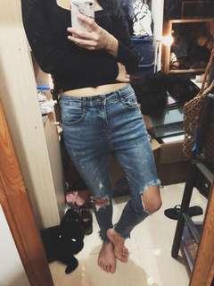 爛修腰穿窿牛仔褲