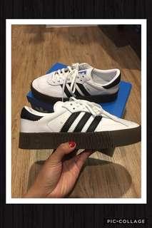 🚚 🏁現貨1雙✨正品Adidas OG Sambarose W White 皮革 橡膠底增高鞋 水原希子著用‼️24cm