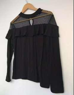 Black frill long sleeve shirt with mesh shoulders