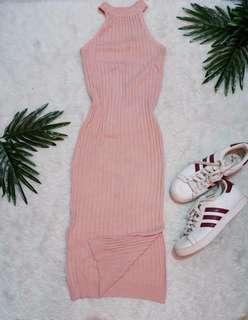 Pastel Pink Knitted Slit Dress