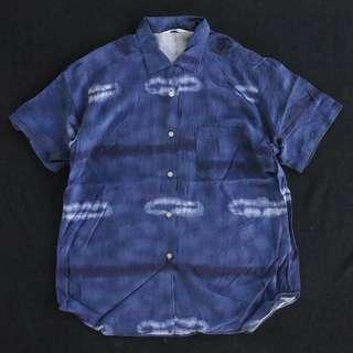 日本製藍染印花短袖襯衫 夏威夷襯衫 男女皆可Vintage 日本古著老品