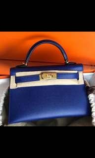 Hermes kelly 20 blue Electric epsom ghw