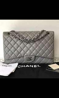 Chanel maxi grey lamb shw #14