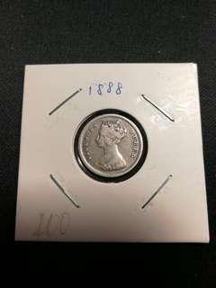 香港维多利亞白毫銀幣1888
