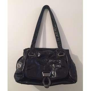 MIMCO Mad Max Mini Day Bag Black Gunmetal Excellent Condition Buffalo Leather