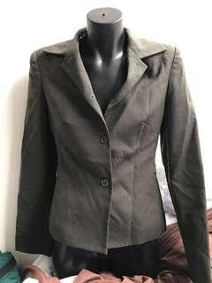 Cue wool khaki olive green business jacket blazer.