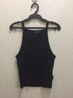 H&M black ribbed halter top