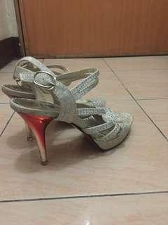 Silver glittery high heels