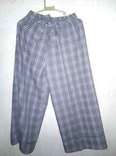 Gray plaid high waist square pants with belt