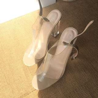 Clear sling back heeled mules