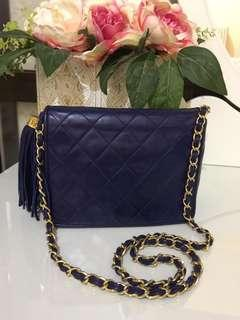 VGC Chanel sling bag vintage blue lambskin ghw #0 size 17 x 12 cm with holo