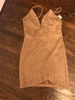 Fashion nova lace up suede dress