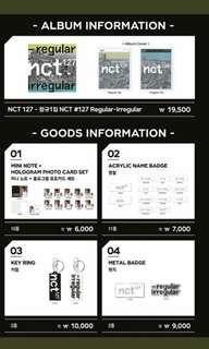 [WTB] NCT 127 Regular Irregular Pop Up astore Mini Note and Hologram Photocard Set
