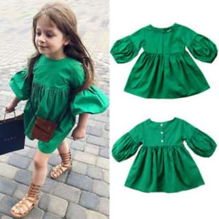 126821a9713d ✓️STOCK - XMAS GREEN BALLOON PUFF FLARE SLEEVES CASUAL FLARE DRESS NEWBORN  TODDLER BABY