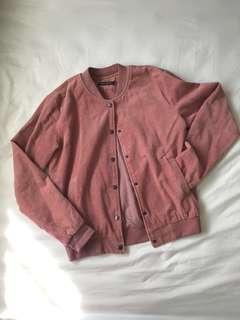 Brandy Melville Dennis Pink Corduroy Baseball Jacket