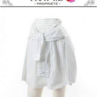 全新轉賣日本專櫃品牌fray I.D 正品條紋襯衫綁帶澎裙