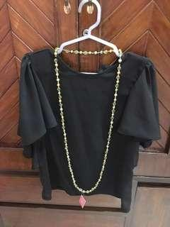 GREEN AND GOLD BEADED LONG NECKLACE