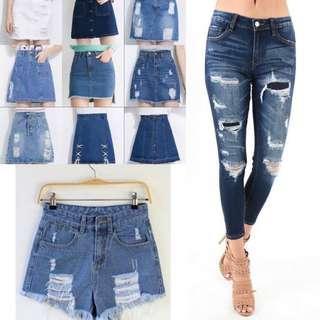 Denim Jeans, Skirts, Shorts
