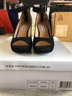 Steve Madden Black Suede Peep Toe