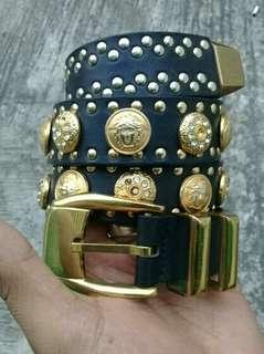 Gianni Versace MEDUSA Belts Leather Golds Diamonds Italy AUTHENTIC