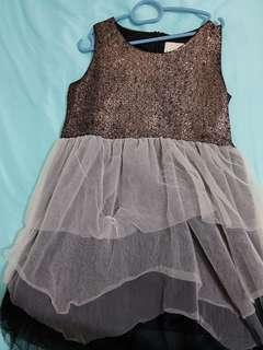 BNWOT GLITTER GLAM/MARY HAD A LITTLE LAMB CHIFFON LAYERED ROSE GOLD DRESS 12