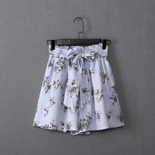 Chiffon Floral high waist shorts 藍色印花雪紡短褲