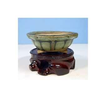 Antique Japanese Tokoname bonsai pot hand painted signed circa 1920 to 40