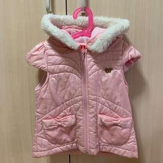 🚚 二手正品ELLE女童秋冬鋪棉連帽拉鍊背心外套 厚款 尺碼120 約4-5歲適穿 有口袋 粉紅色
