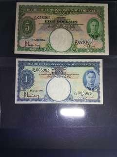 🇲🇾Manking 1941 set $1dollar  5dollar AU/++