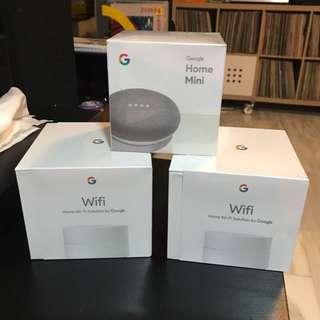 Google Wifi (Mesh Wifi) x 2 + Google Home Mini