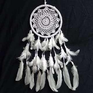White Bohemian Crochet Dream Catchers