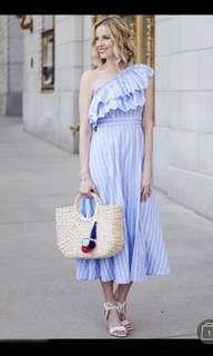 Vertical Shoulder Stripe Frill Dress