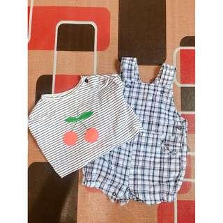 Cotton on baby overall and shirt