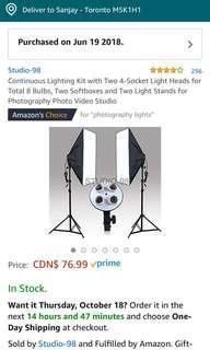 Set of 2 soft box lights (with bulbs)