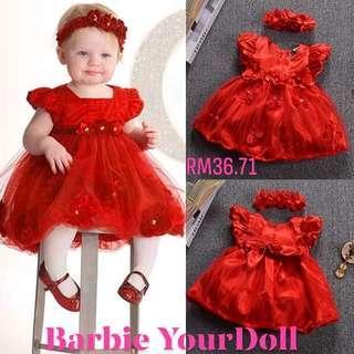 2PCS/Set Baby Newborn Girl Kids Princess Dress Lace Pageant Party Dress+Headband