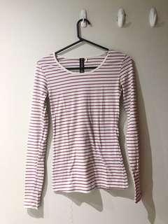 Purple stripes long sleeve shirt💜