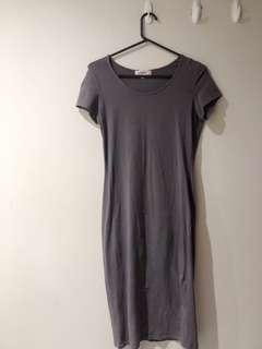 Dark grey short sleeve long dress