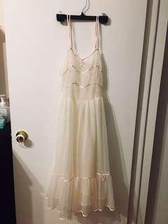 Cream babydoll chiffon dress