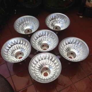 早期六個工業風鋁製大燈罩 復古收藏 懷舊擺飾
