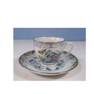 Antique rare hand decorated famille rose tea cup saucer circa 1950s retired